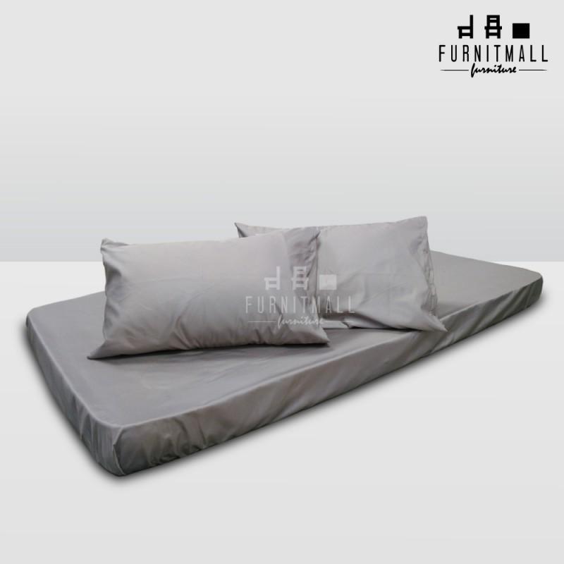 ผ้าปูที่นอนสีเทา ขนาด 3.5 ฟุต