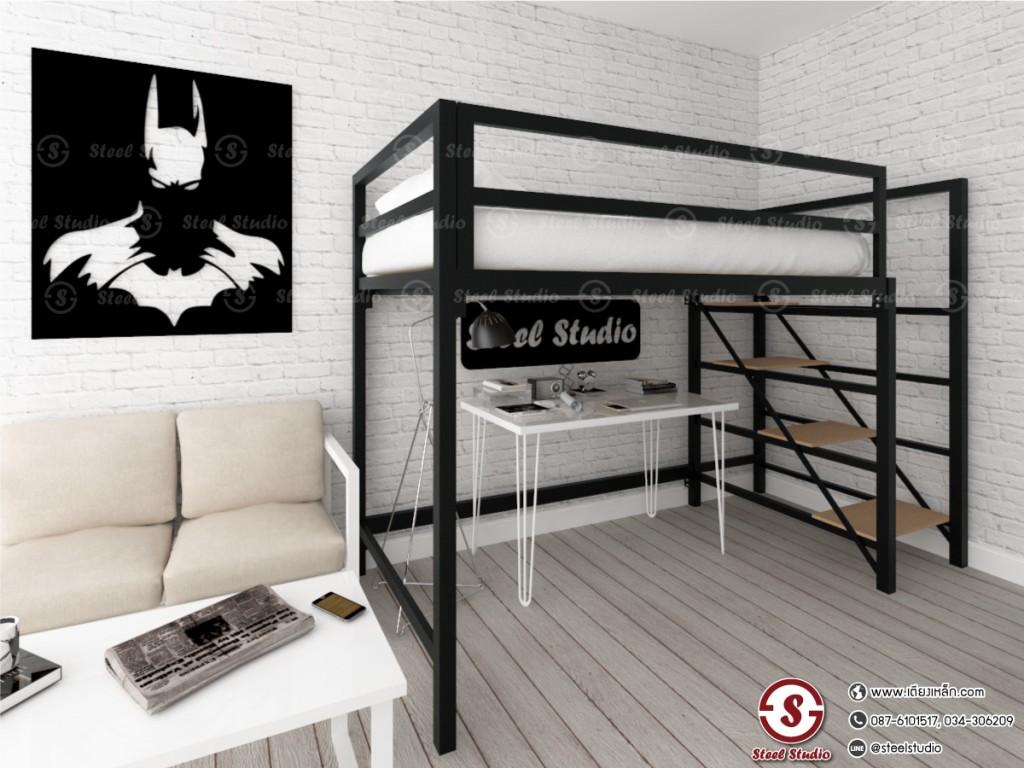 เตียงสองชั้นล่างโล่ง บันไดขึ้นหลัง