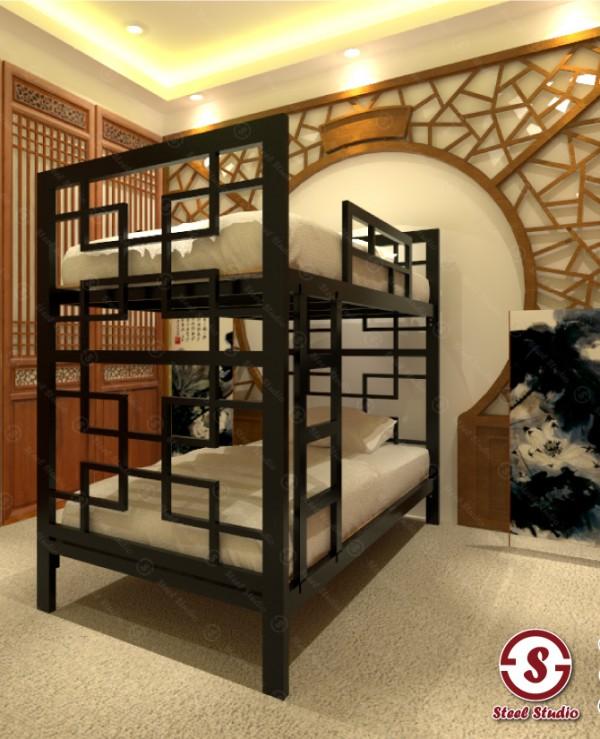 เตียงสองชั้น ลายจีน หยิน-หยาง